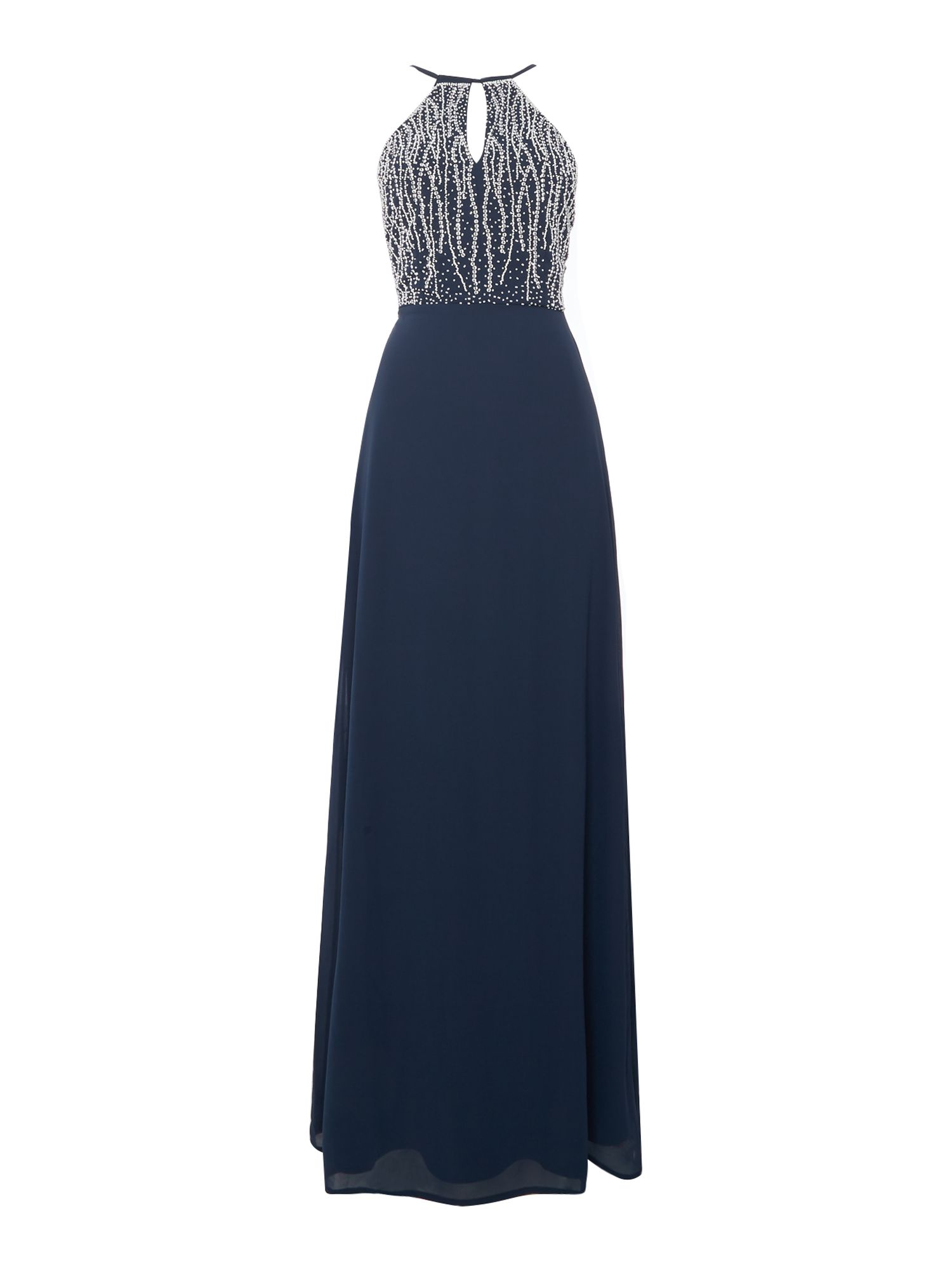 Lace and Beads Lace and Beads Halter Neck Embellished Top Maxi Dress, Navy