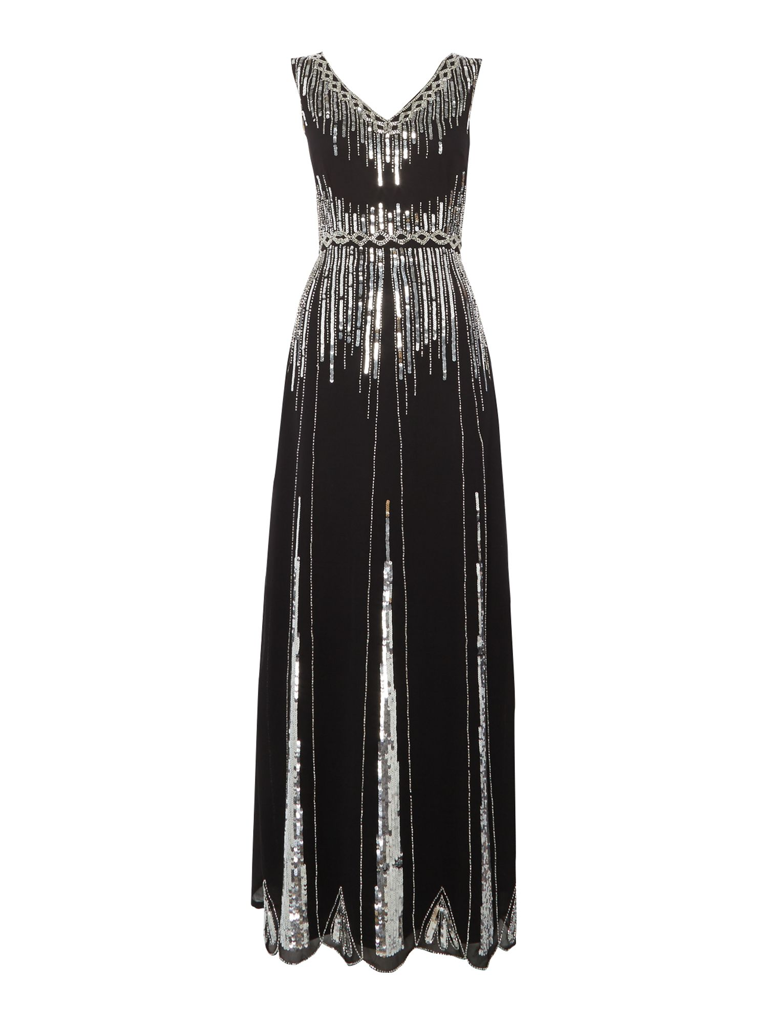 Lace and Beads Lace and Beads Sleeveless V Neck Maxi Dress, Black