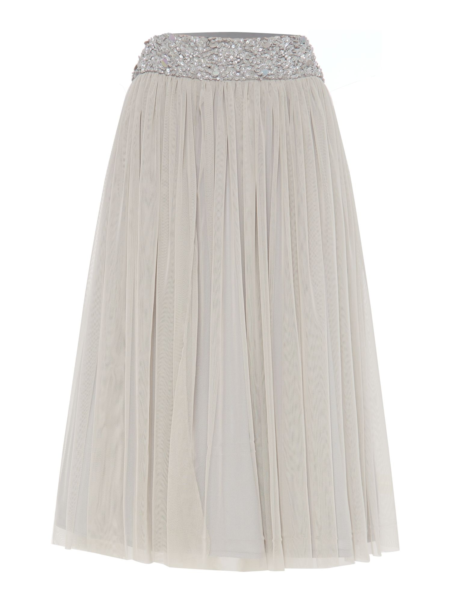 Lace and Beads Lace and Beads Embellished waistband midi skirt, Grey