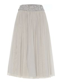 Lace and Beads Embellished waistband midi skirt