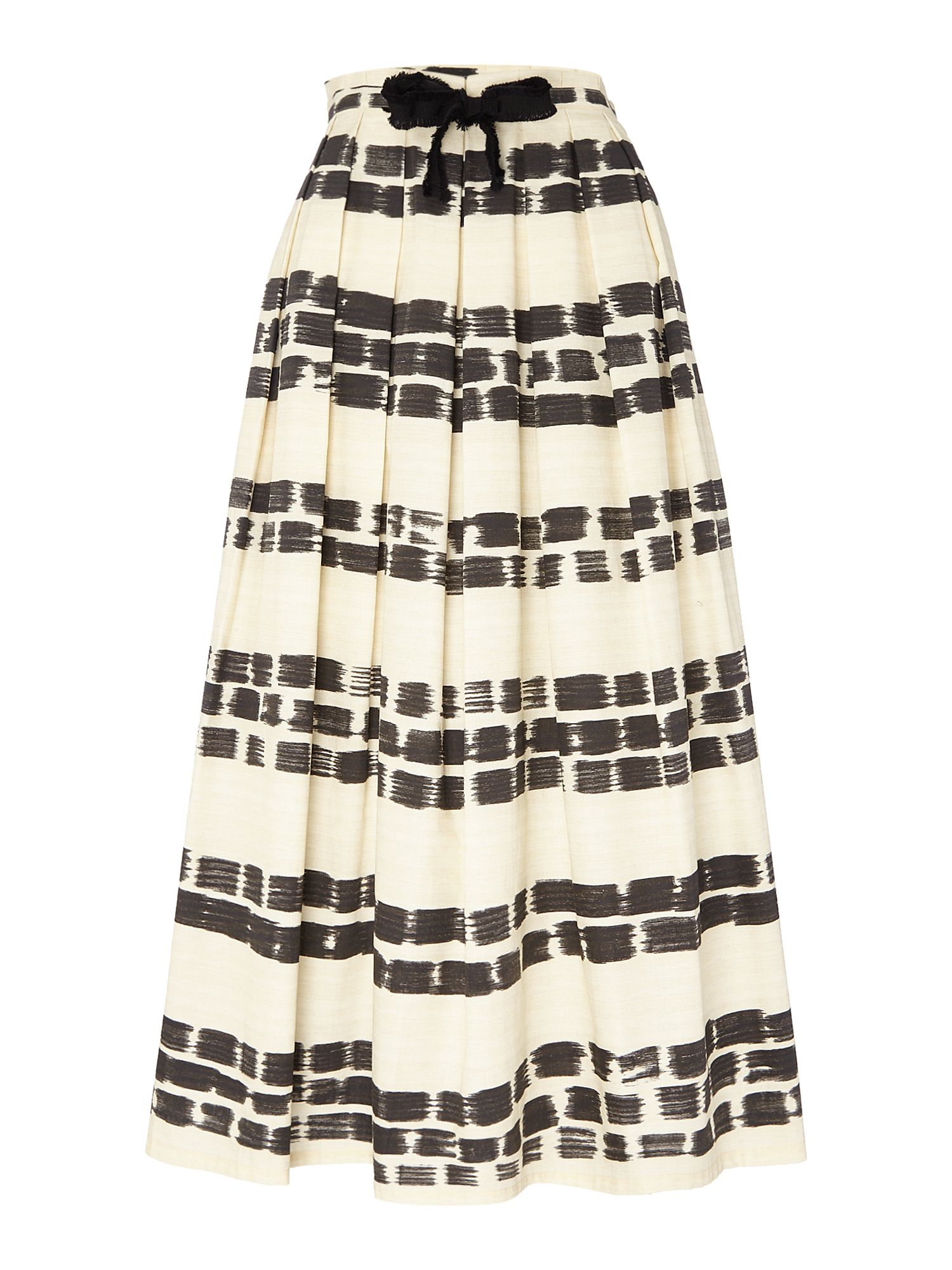 Max Mara Studio GIOTTO midi striped skirt with belt tie, White