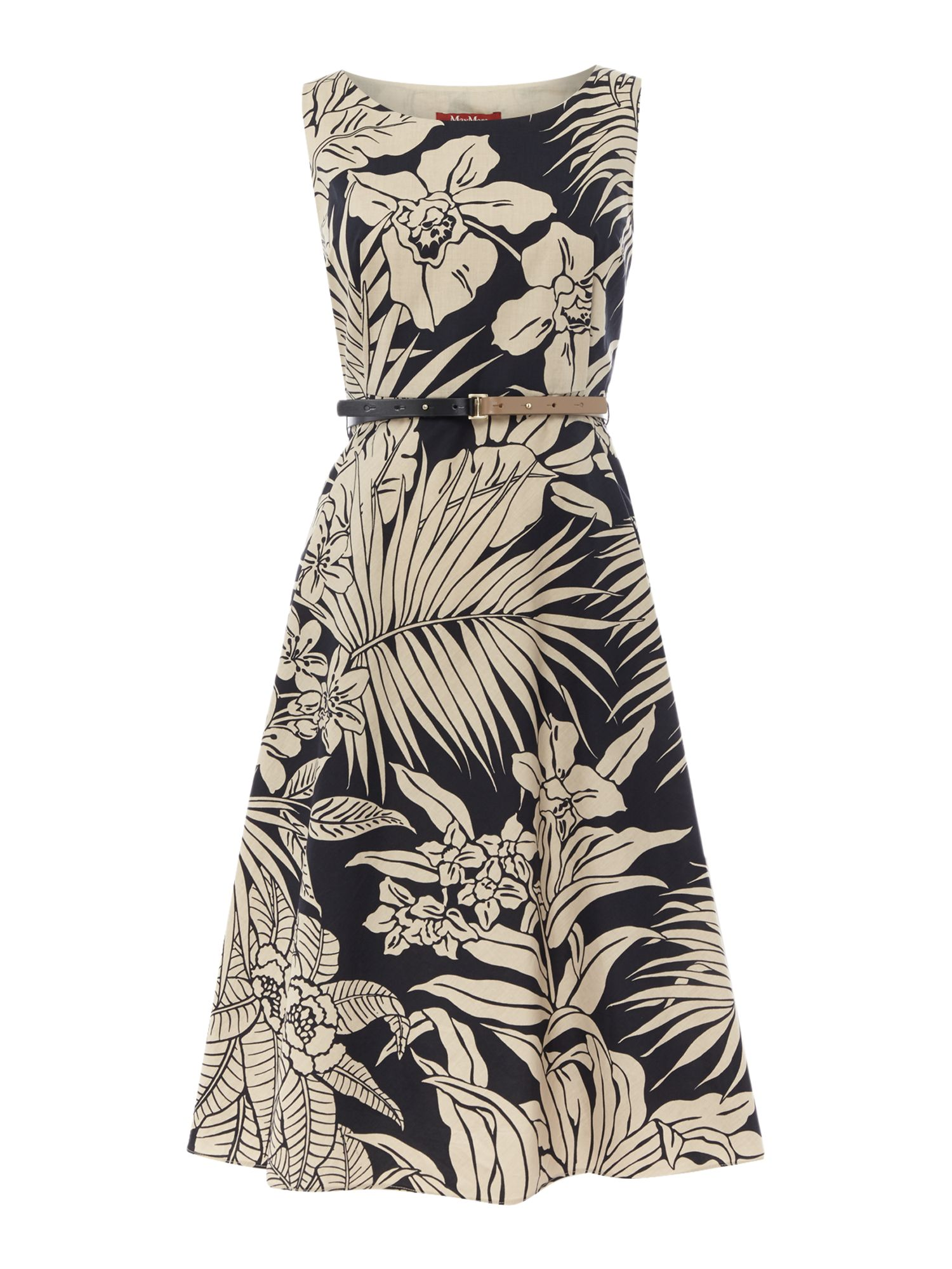 Max Mara Studio DETROIT sleeveless palm print fit and flare dress, Black