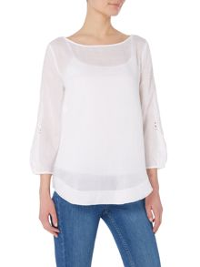 Max Mara SENIOR longsleeve cut out brocade blouse