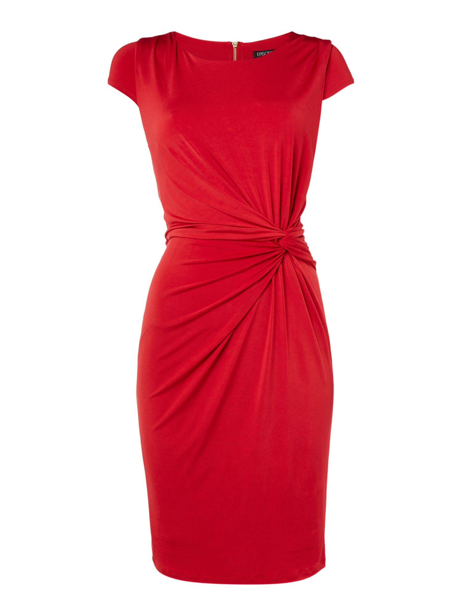 Episode Episode Knot front jersey dress with exposed zip, Red