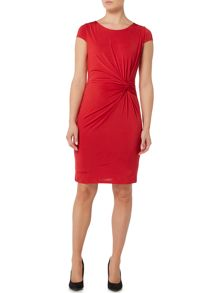 Episode Knot front jersey dress with exposed zip