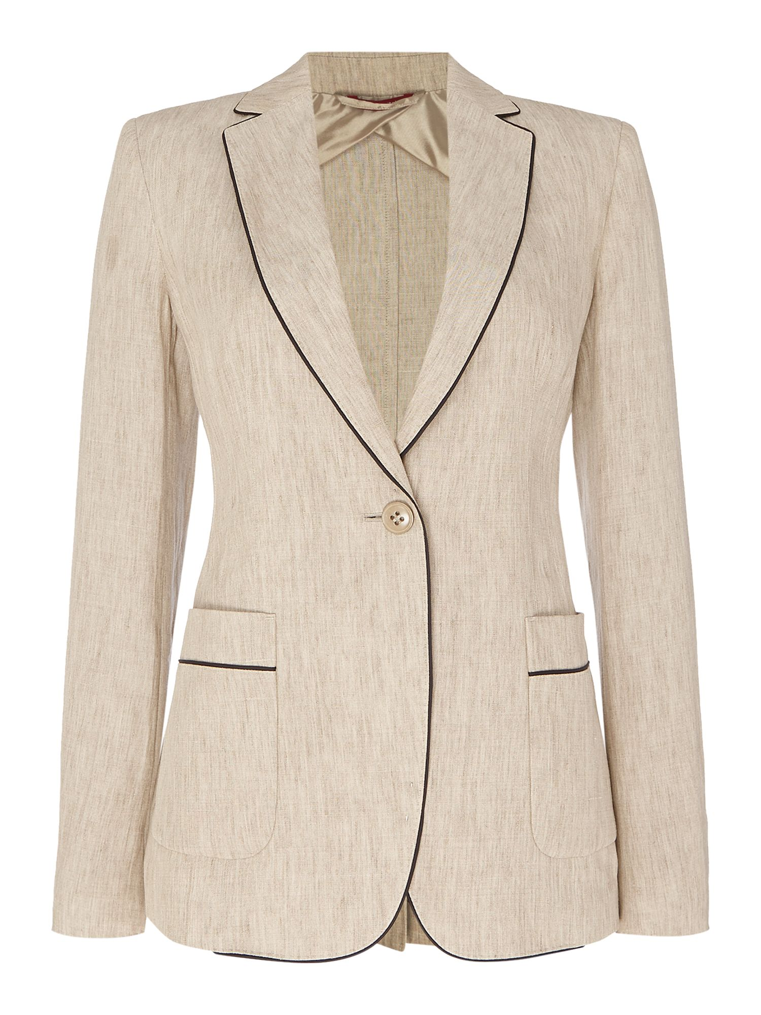 Max Mara Studio LEPANTO linen jacket with piping detail, Khaki