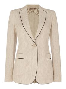 Max Mara LEPANTO linen jacket with piping detail