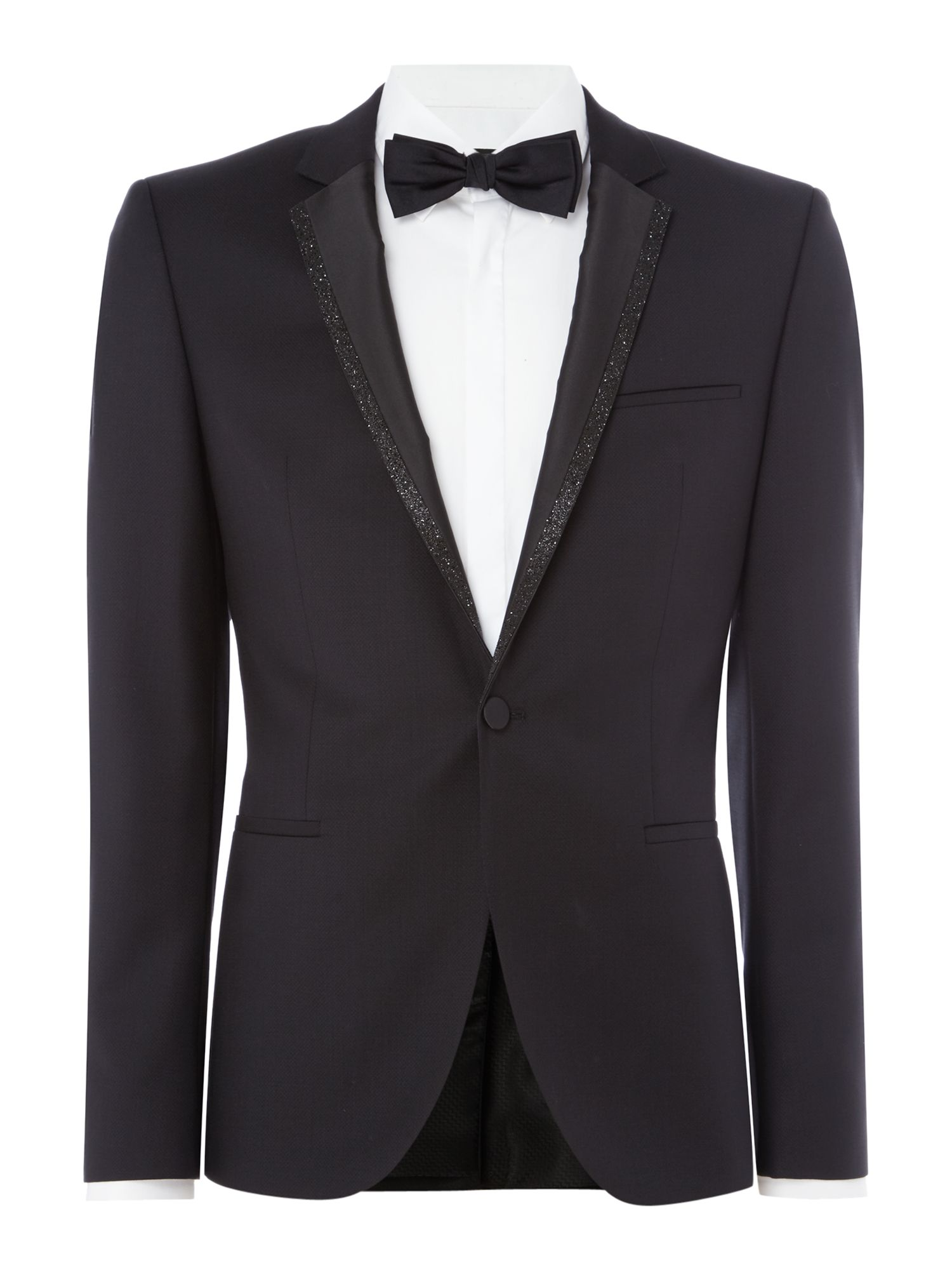 HUGO Men's Hugo Adrison Glitter Trim Dinner Jacket, Black