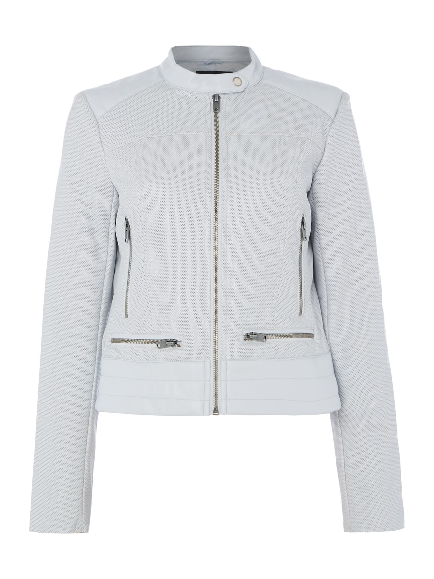 Andrew Marc PU central zip jacket, Blue