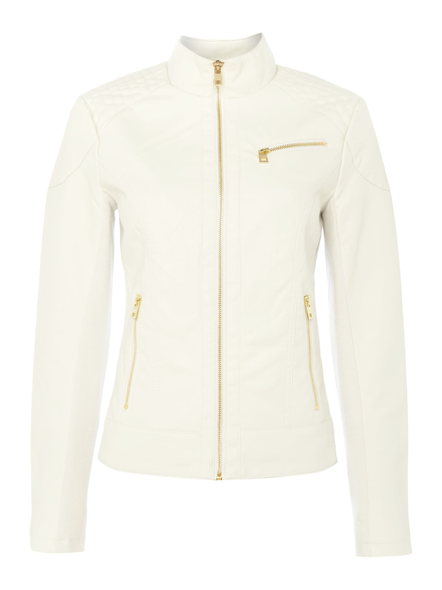 Andrew Marc PU jacket with jersey side panels, White