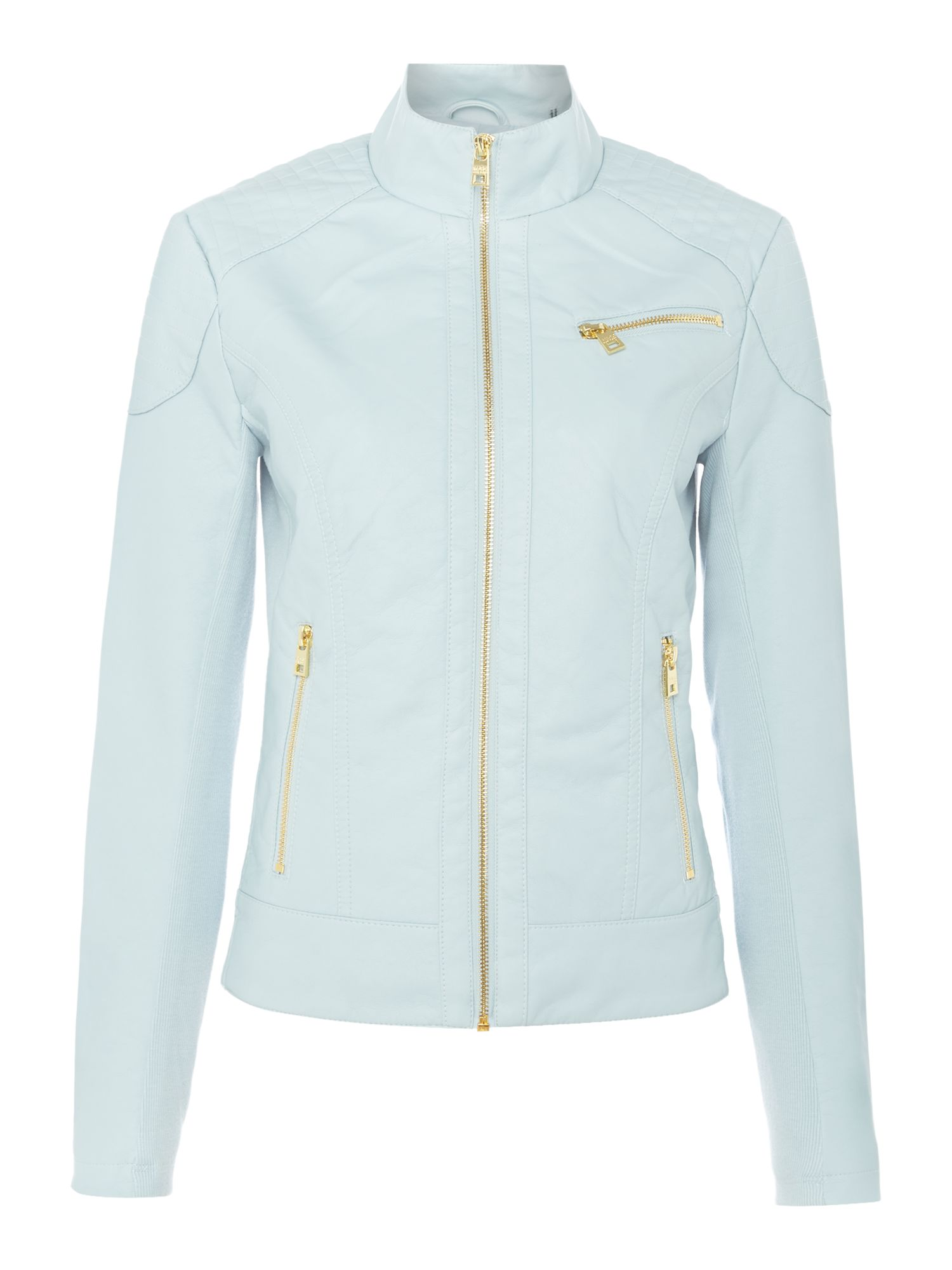 Andrew Marc PU jacket with jersey side panels, Light Blue