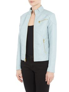 Andrew Marc PU jacket with jersey side panels