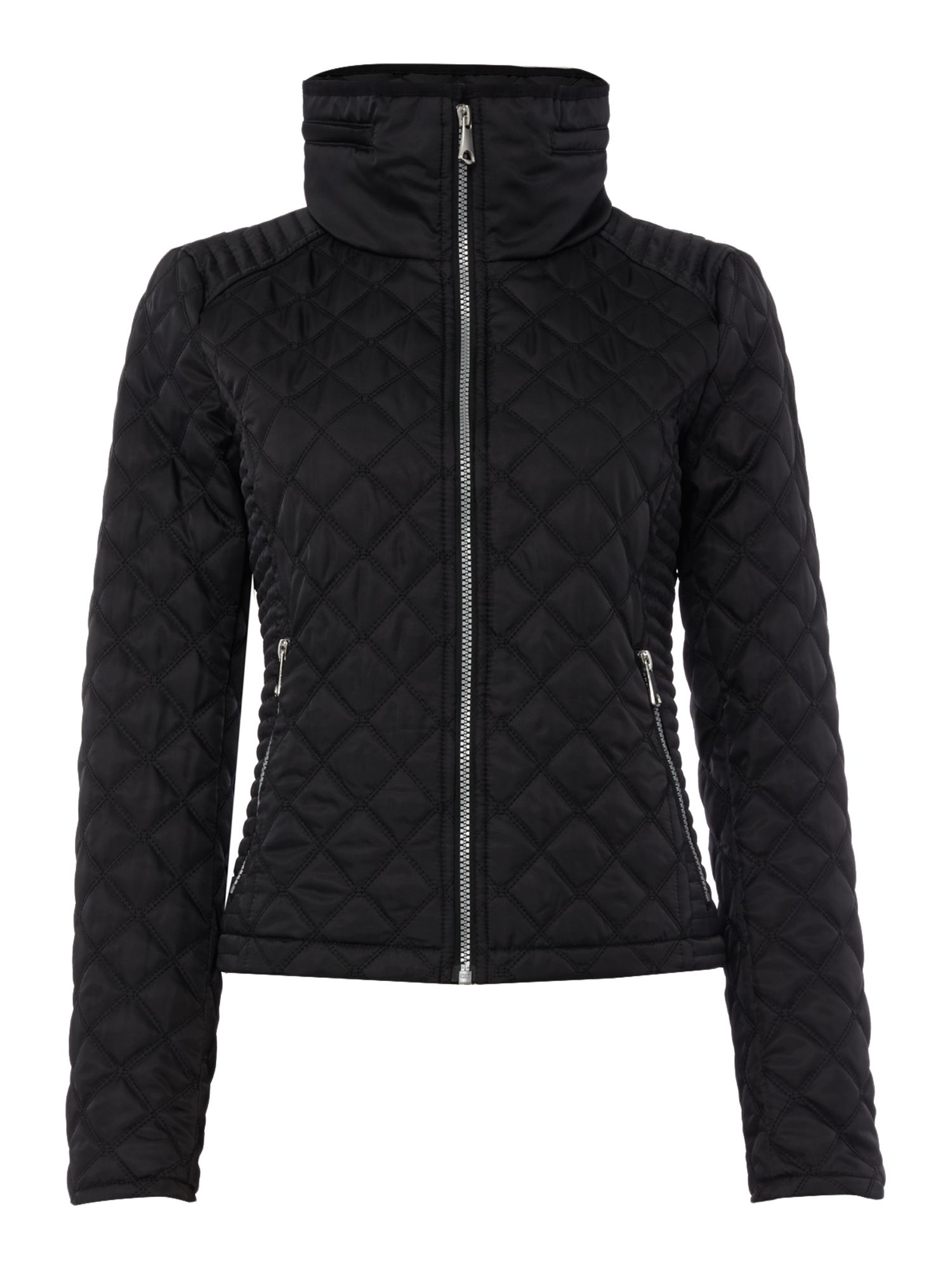 Andrew Marc Quilted jacket with zip detail sleeve, Black