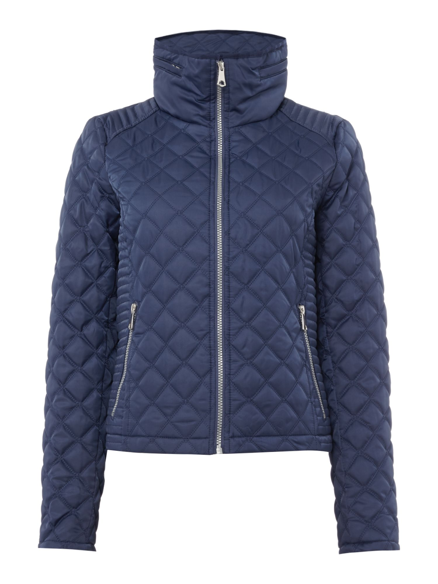 Andrew Marc Quilted jacket with zip detail sleeve, Blue