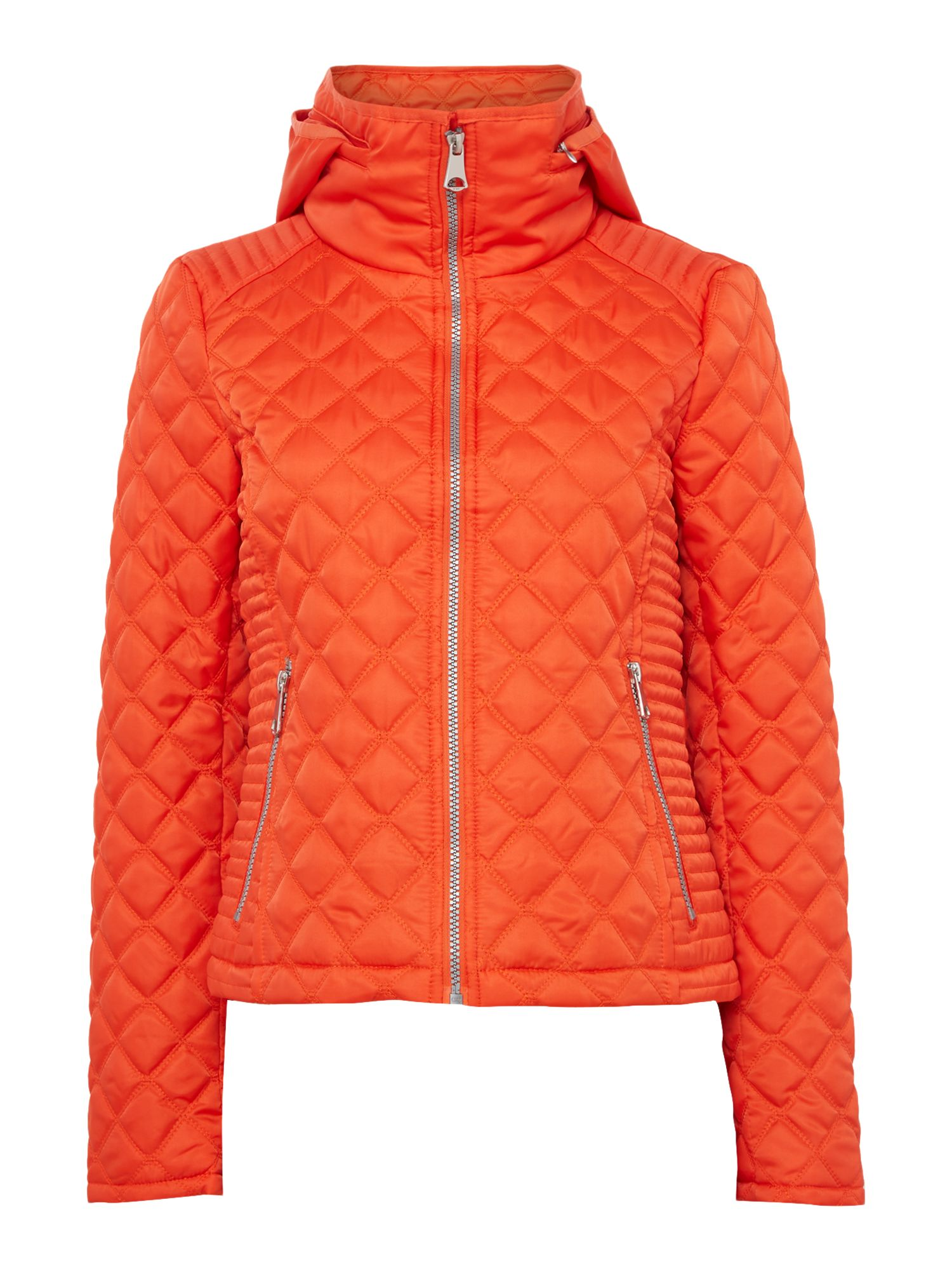 Andrew Marc Quilted jacket with zip detail sleeve, Orange