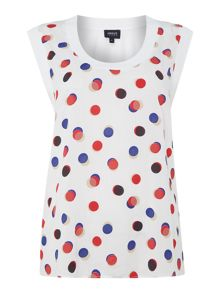 Armani Jeans Sleeveless large spot print top in bianco ottico