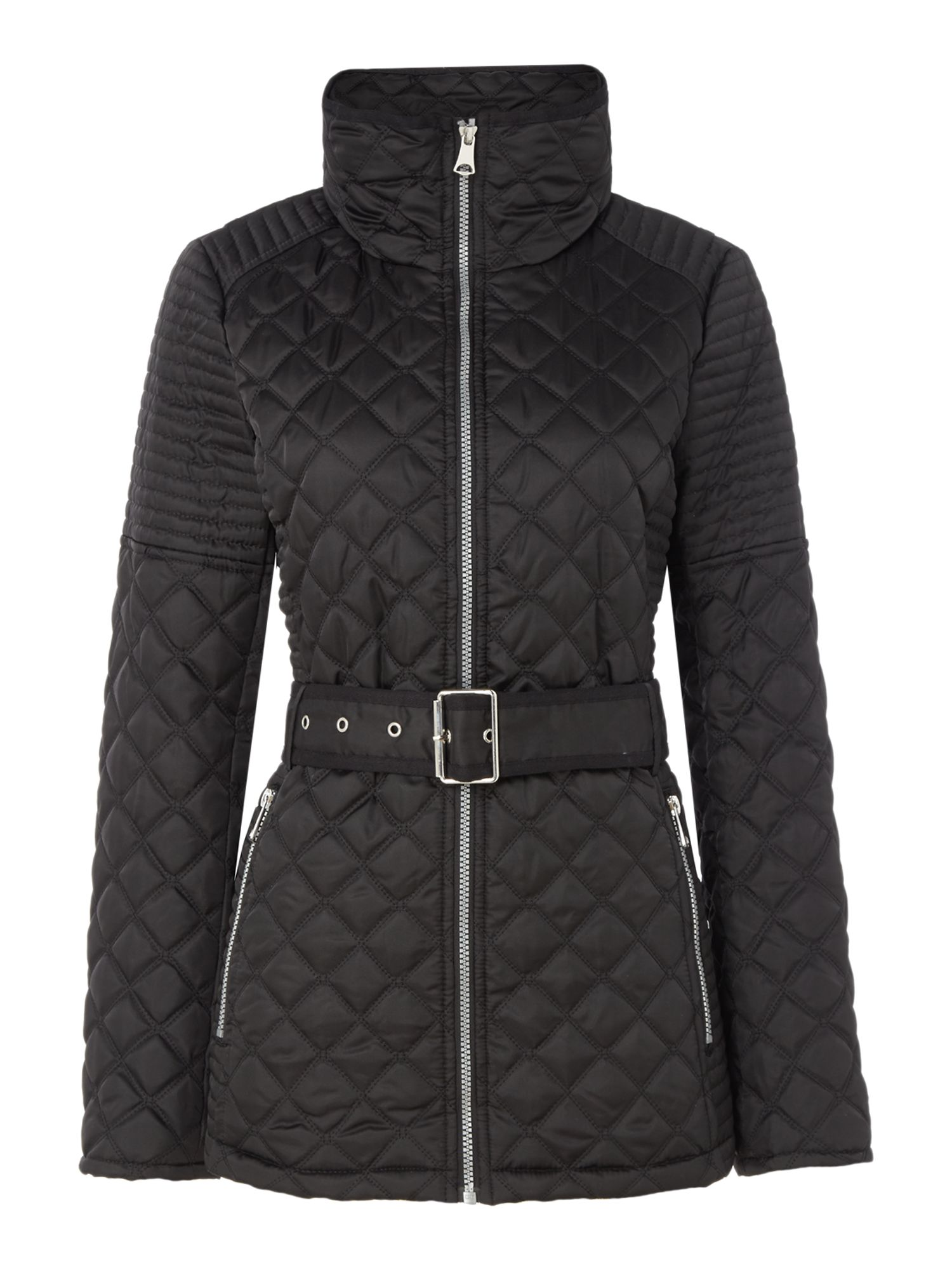 Andrew Marc Quilted jacket with tuck away hood, Black