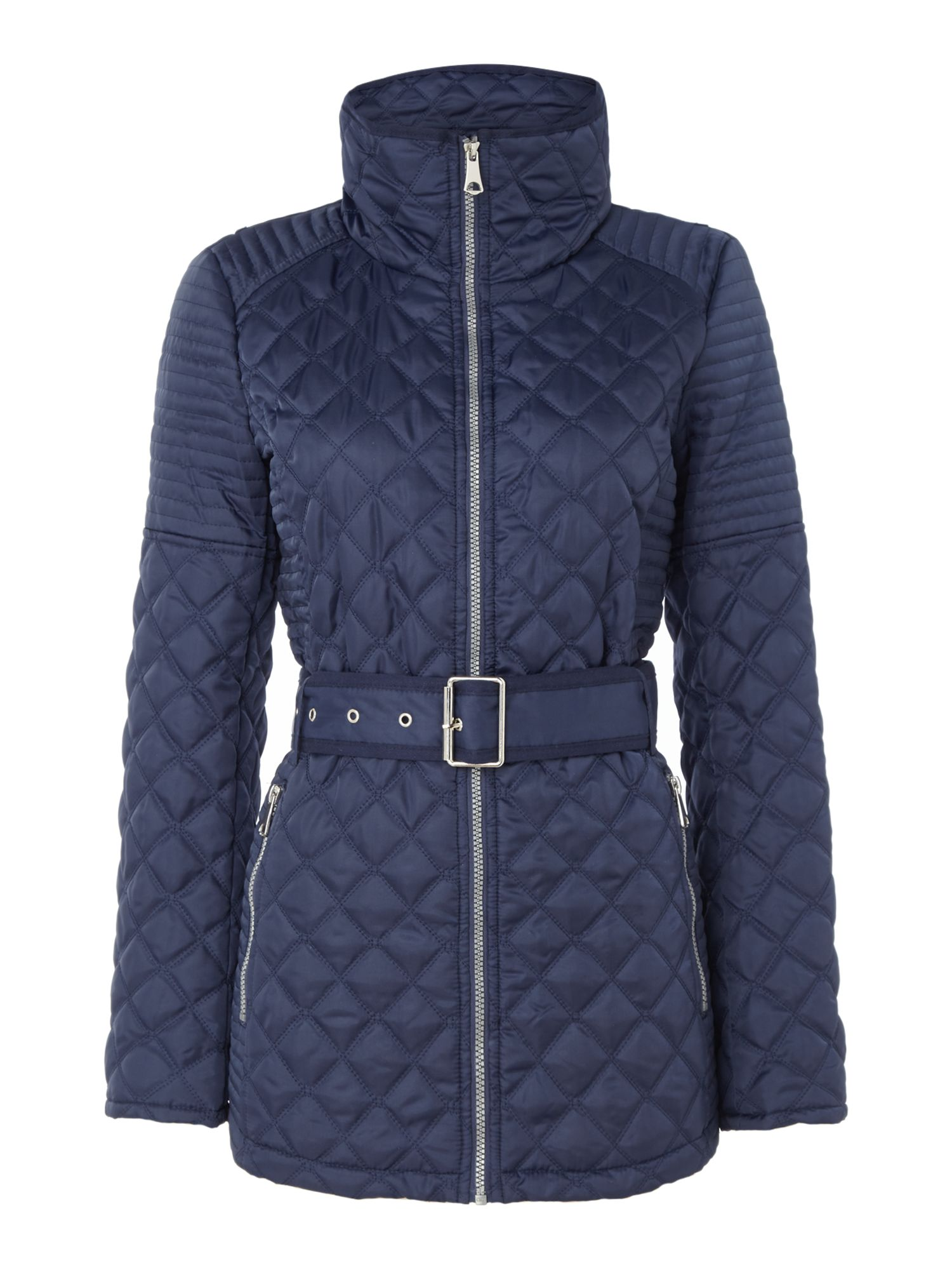 Andrew Marc Quilted jacket with tuck away hood, Blue