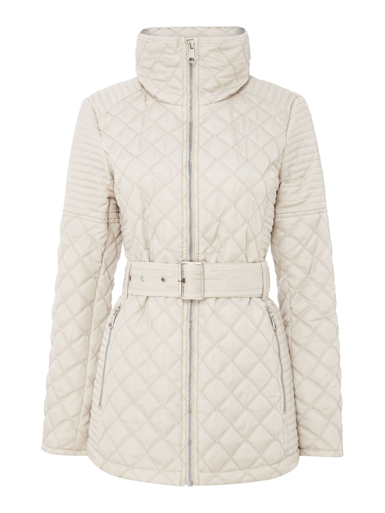 Andrew Marc Quilted jacket with tuck away hood, Grey
