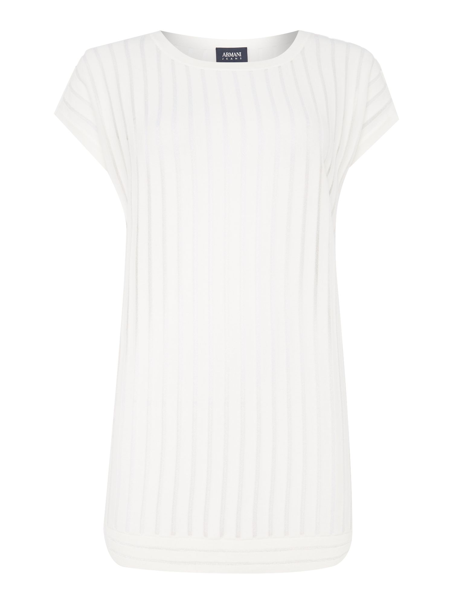 Armani Jeans Sleeveless ribbed see through top in bianco latte, White