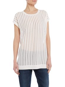Armani Jeans Sleeveless ribbed see through top in bianco latte