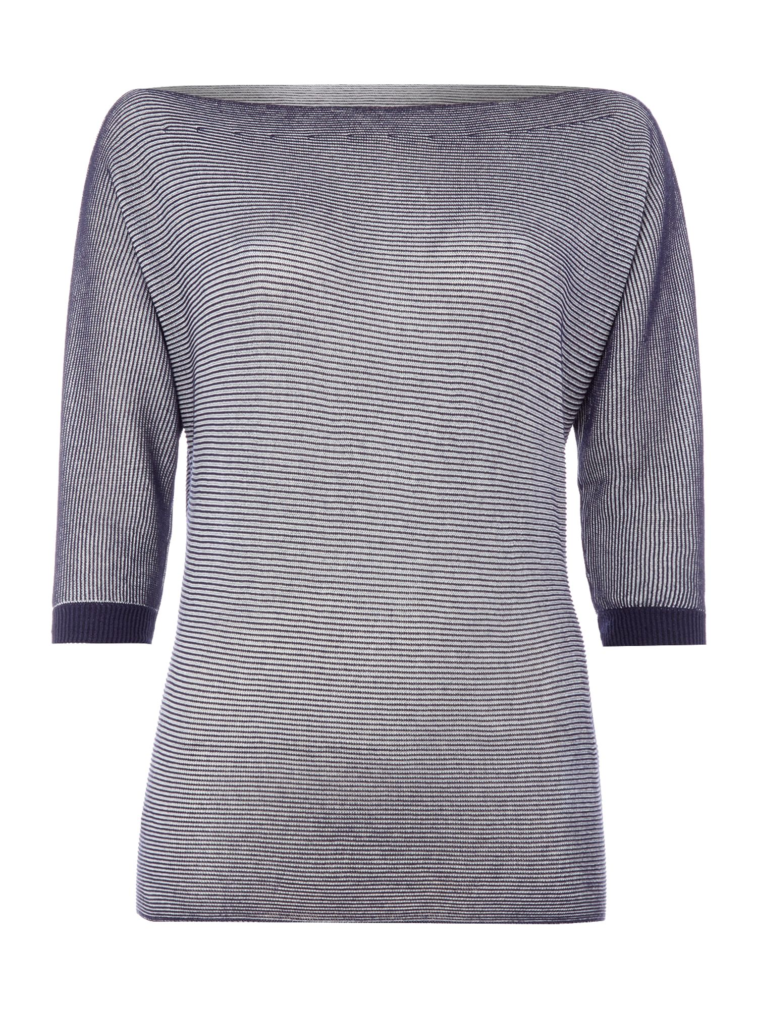 Armani Jeans Long sleeve stripe slit neck top in riga bianco, Blue