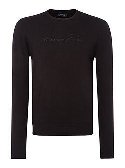 Crew neck stripe textured jumper