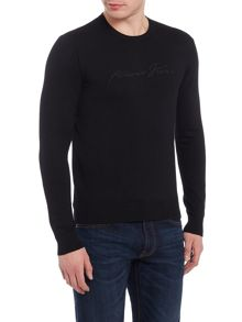 Armani Jeans Crew neck stripe textured jumper