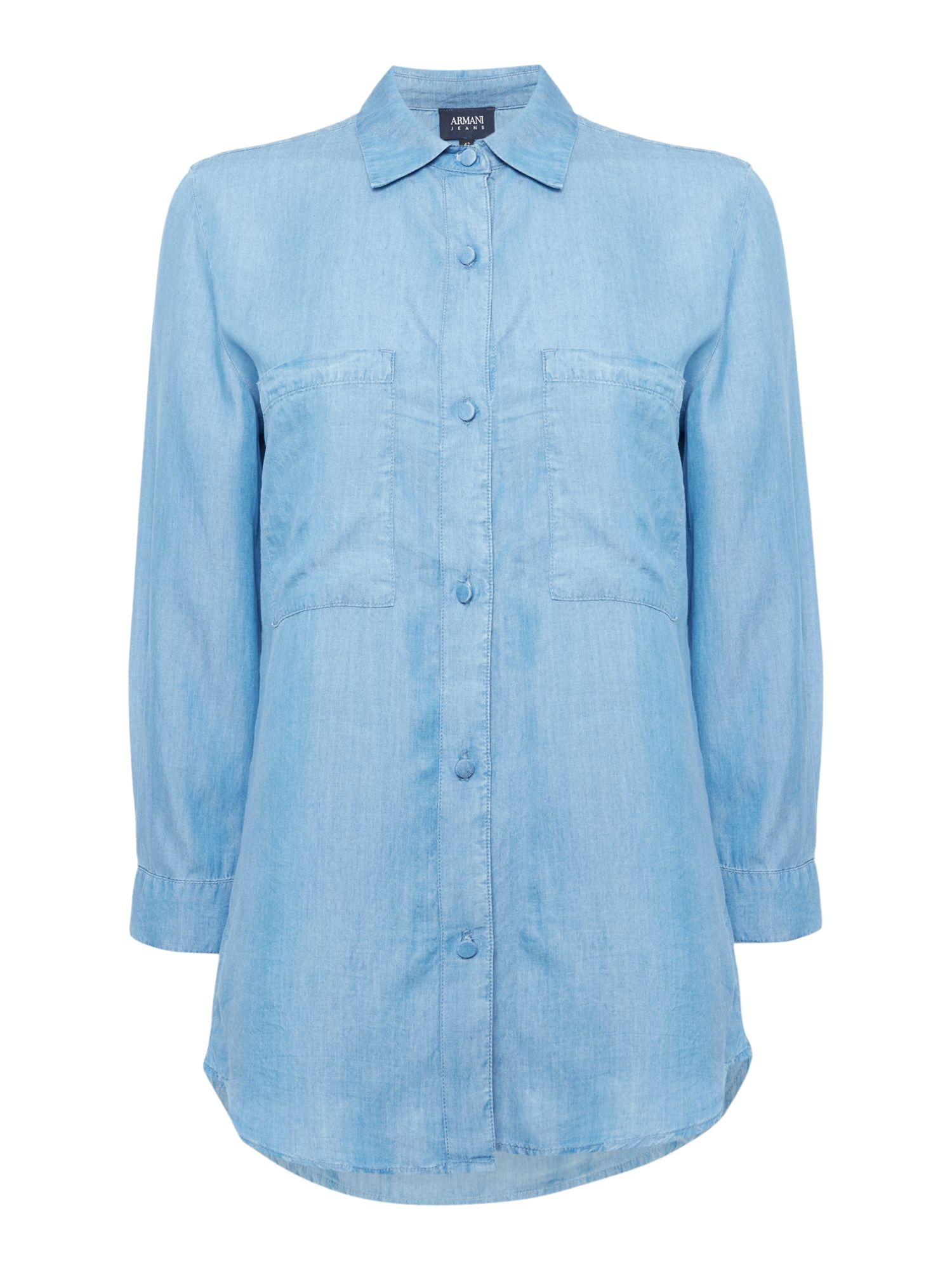 Armani Jeans Denim shirt with chest pockets in blu denim, Denim