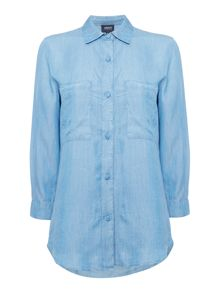 Armani Jeans Denim shirt with chest pockets in blu denim