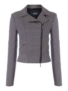 Armani Jeans Diagonal zip jacket with collar in fantasia blu