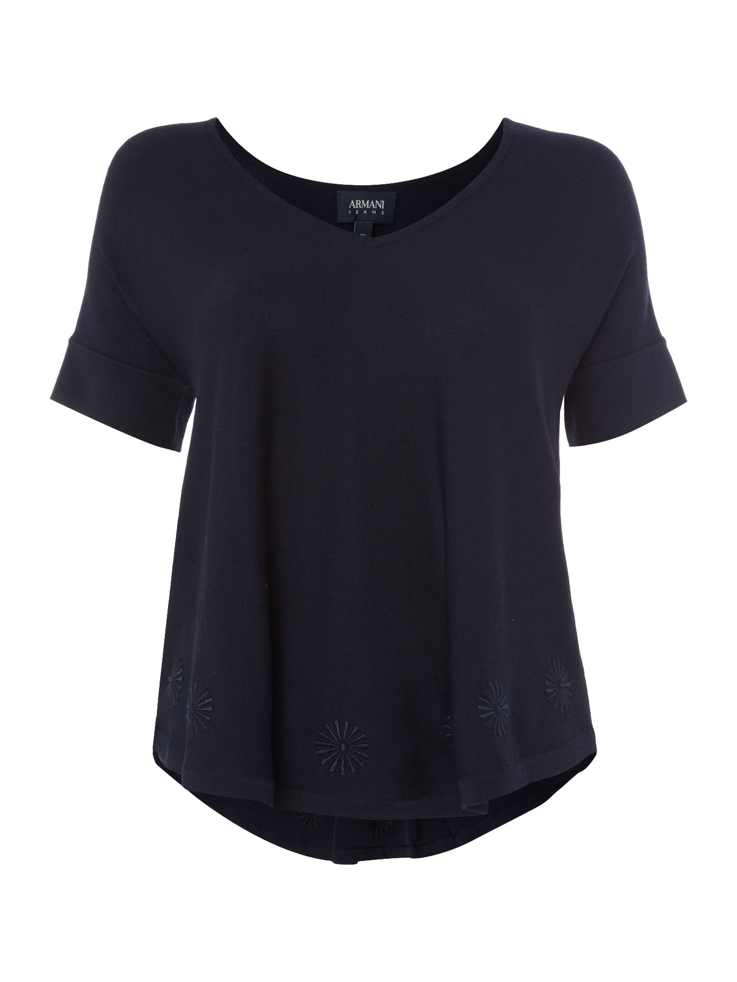 Armani Jeans Floaty top with embroidered detailing in blu, Blue