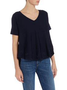 Armani Jeans Floaty top with embroidered detailing in blu