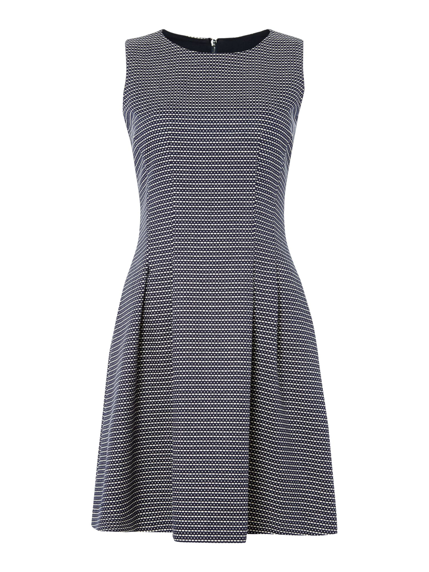 Armani Jeans Sleeveless dobby pattern dress in fantasia blu, Grey