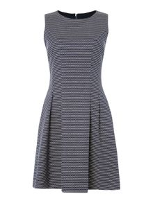 Armani Jeans Sleeveless dobby pattern dress in fantasia blu