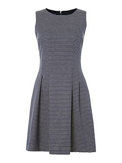 Sleeveless dobby pattern dress in fantasia blu