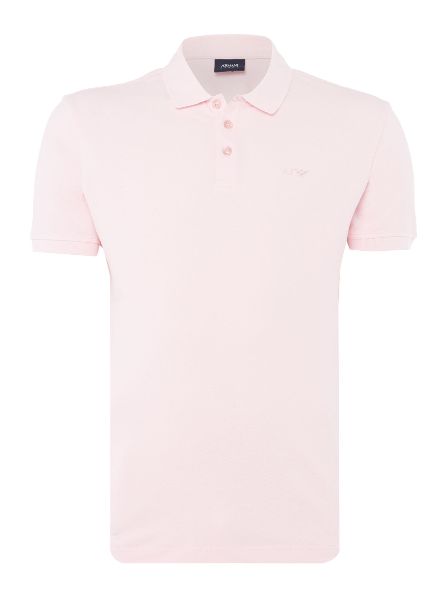 Mens Armani Jeans Regular fit short sleeve logo polo shirt Light Pink