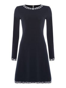 Michael Kors Bayeux Longsleeve Trim dress