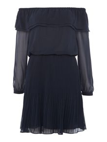 Michael Kors Longsleeve Off Shoulder Pleated Dress