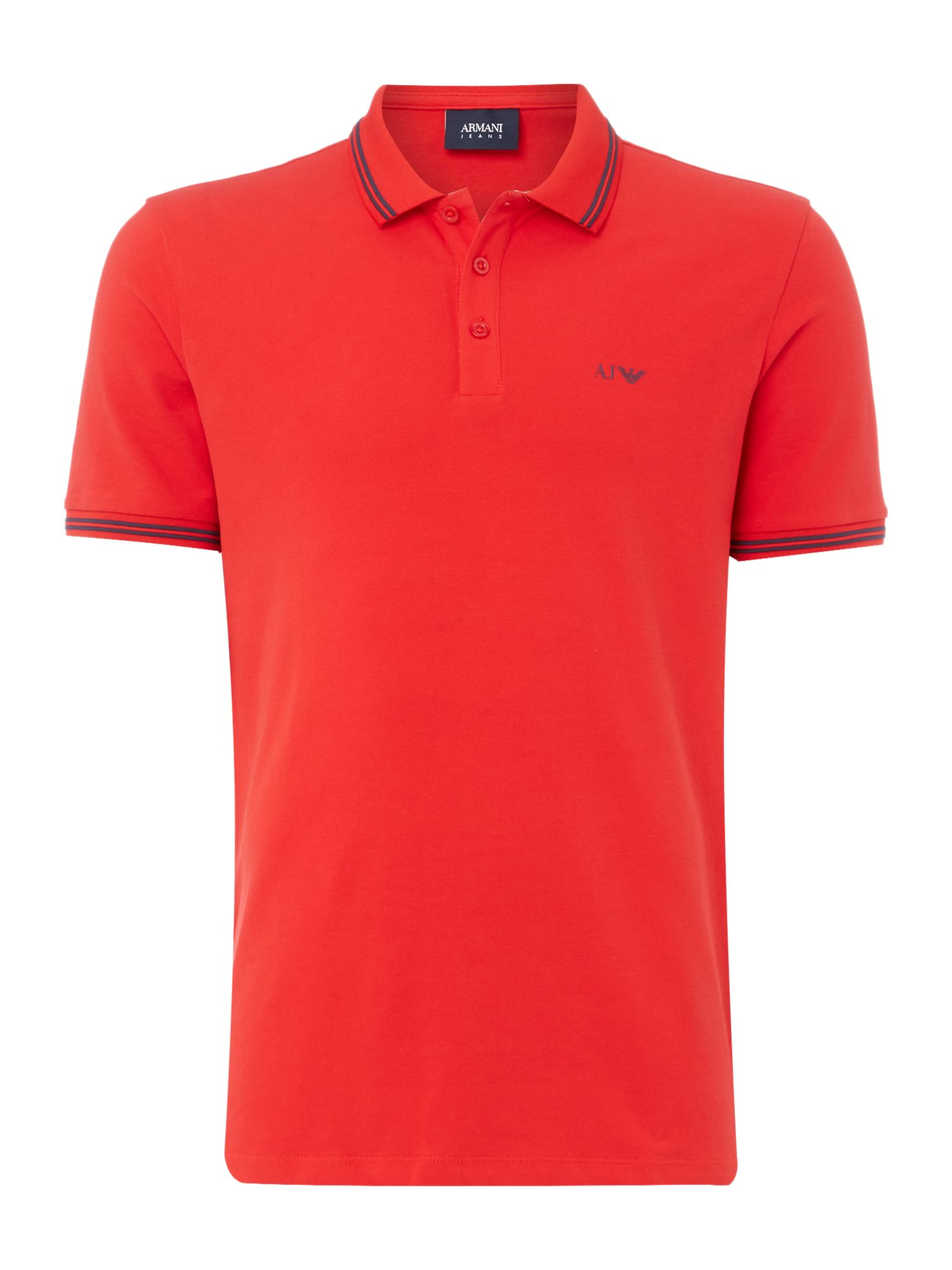 Men's Armani Jeans Regular fit tipped logo polo, Red