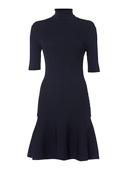 Shortsleeve Chunky Roll Neck Flare Dress