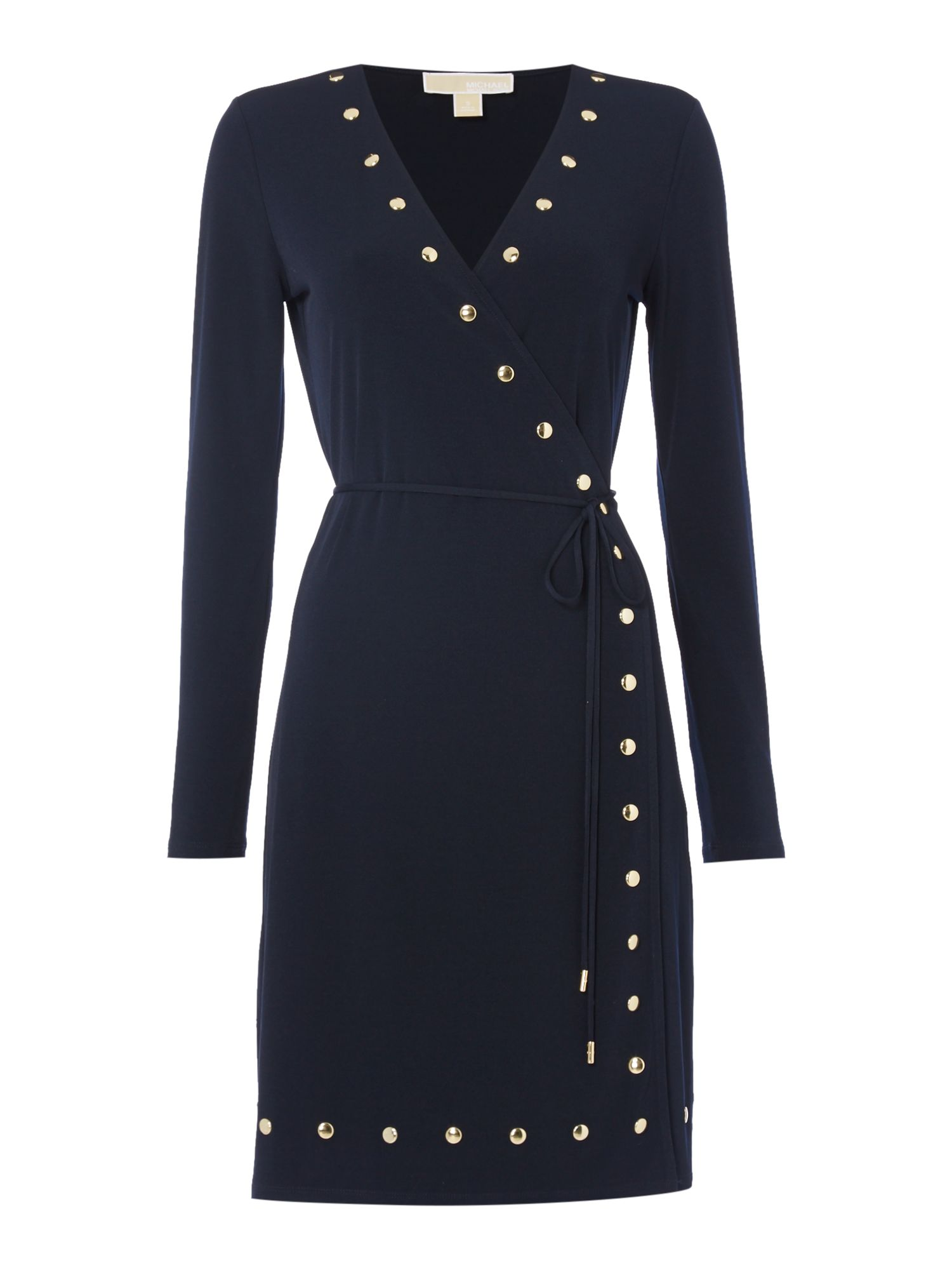 Michael Kors Longsleeve Studded Wrap Dress, Blue