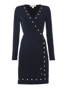 Michael Kors Longsleeve Studded Wrap Dress
