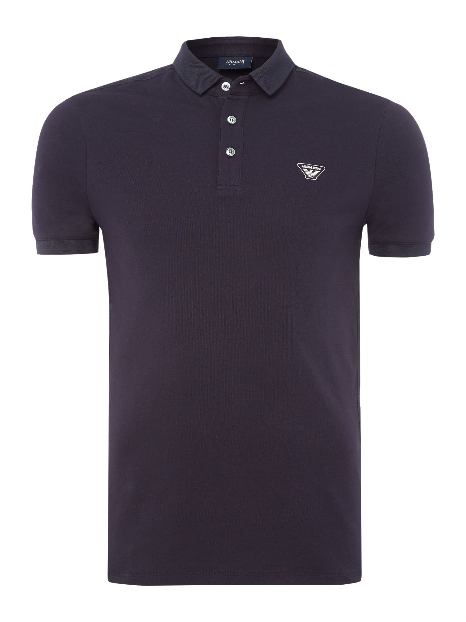 Mens Armani Jeans Tape detail polo shirt Navy