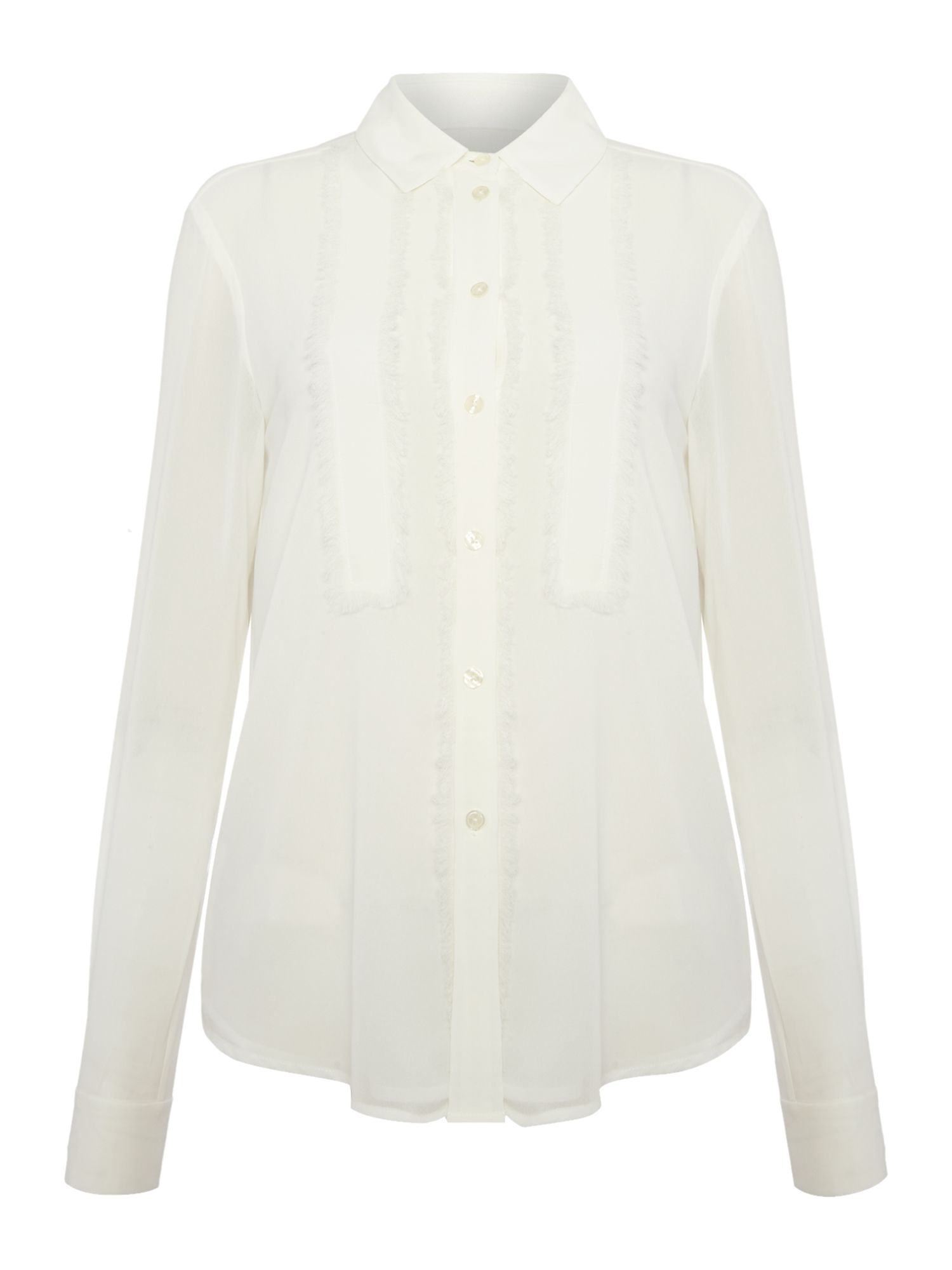 Michael Kors Long Sleeve Fray Detail Shirt, Ecru