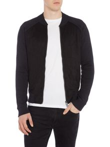 Hugo Boss Arbomer zip-up faux suede front jumper