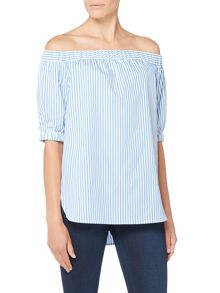 Michael Kors Shortsleeved Off Shoulder Pinstripped Top
