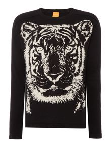 Hugo Boss Kiger tiger print knitted jumper