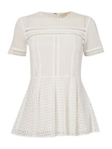 Michael Kors Short Sleeve Embroidered Detail Top