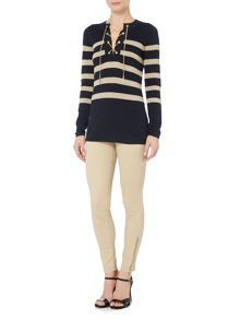 Michael Kors Knitted Longsleeve Laced Striped Tunic Jumper